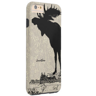 Vintage Moose and Wolf woodgrain iphone case