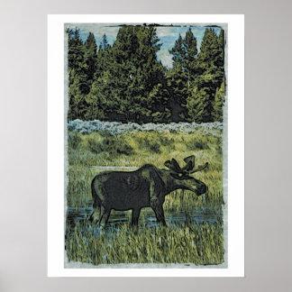 Vintage Moose Photo Print