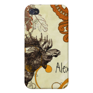 Vintage Moose Russet Damask iPhone iPhone 4/4S Covers