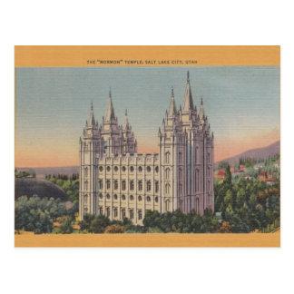 Vintage Mormon Temple Salt Lake City Utah Postcard