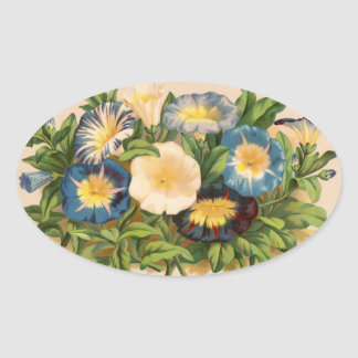 Vintage Morning Glory Oval Sticker