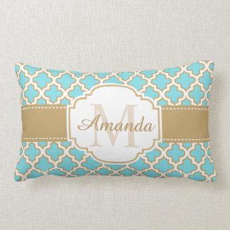 Vintage Moroccan Quatrefoil Gold Cyan Monogram Lumbar Pillow