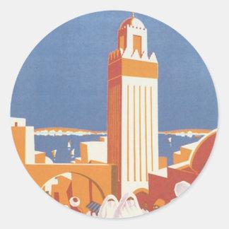 Vintage Morocco Aeropostale Mosque Classic Round Sticker