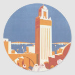Vintage Morocco Aeropostale Mosque Round Sticker