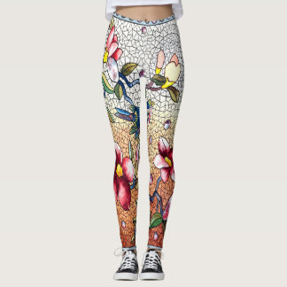 Vintage mosaic bird and flowers leggings
