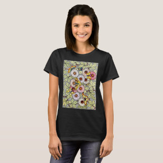 Vintage mosaic butterflies and flowers T-Shirt