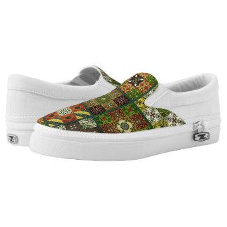Vintage mosaic talavera ornament slip on shoes