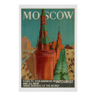 Vintage Moscow Intourist Poster
