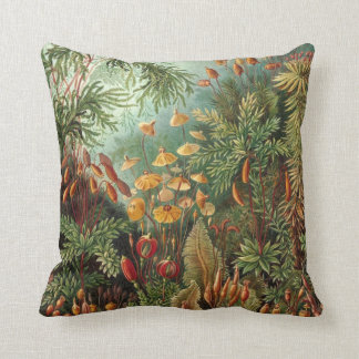 Vintage Moss Plants by Ernst Haeckel, Muscinae Throw Pillow