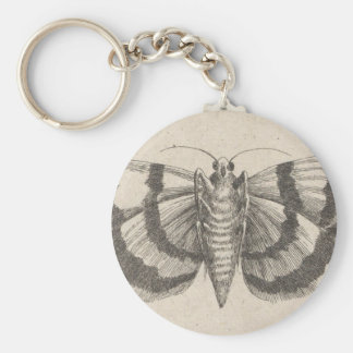 Vintage Moth Entomology Lepidoptera Insect Basic Round Button Key Ring