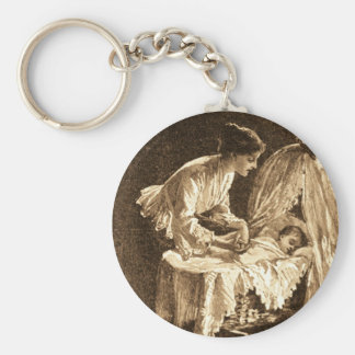 Vintage Mother and Baby Basic Round Button Key Ring