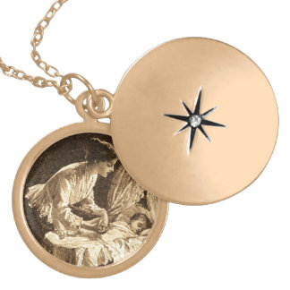 Vintage Mother and Baby Gold Plated Necklace
