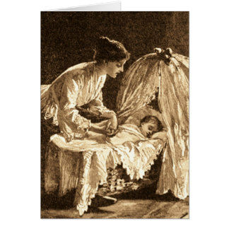Vintage Mother and Baby Greeting Card