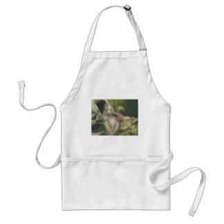 Vintage Mother and Baby Playing in Bed Apron