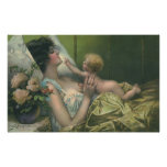 Vintage Mother and Baby Playing in Bed Poster