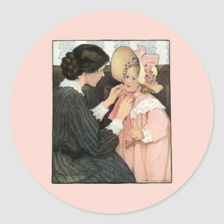 Vintage Mother and Child by Jessie Willcox Smith Classic Round Sticker
