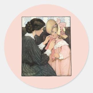 Vintage Mother and Child by Jessie Willcox Smith Round Sticker