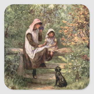 Vintage Mother and Child in a country setting Square Sticker