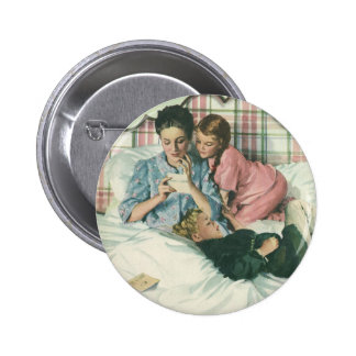 Vintage Mother and Children Reading Cards in Bed 6 Cm Round Badge