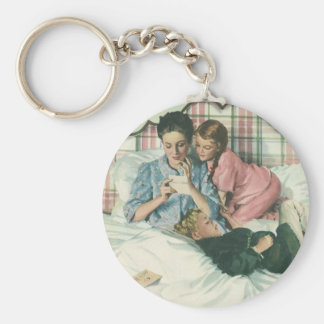 Vintage Mother and Children Reading Cards in Bed Basic Round Button Key Ring