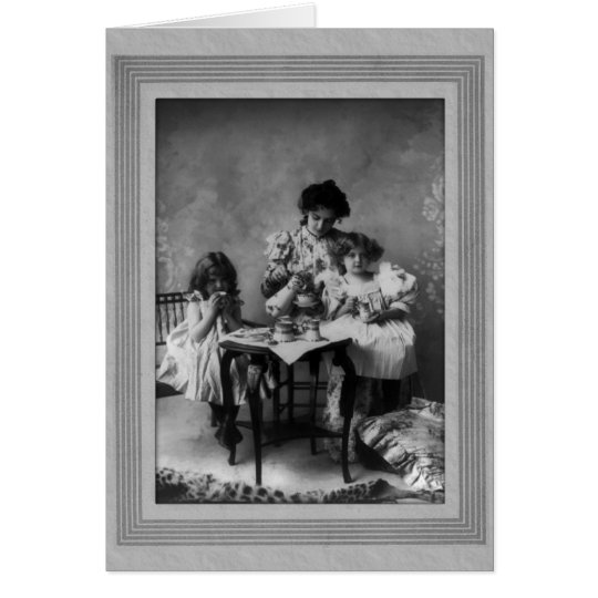 Vintage Mother and Daughters Having Tea Party Card