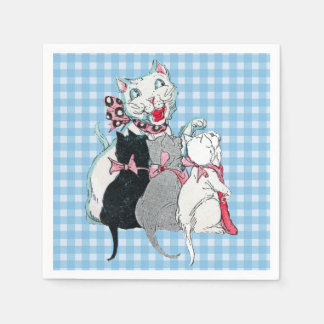 Vintage Mother Cat Three Kittens Pink Bows Disposable Napkin