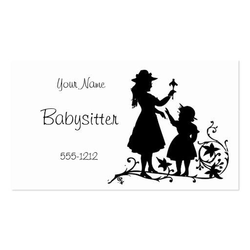 Vintage Mother Child Babysitter Business Card