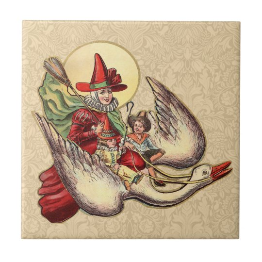 Vintage Mother Goose Antique Illustration Tile