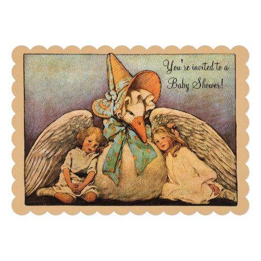 Vintage Mother Goose Children Twins Baby Shower Invite
