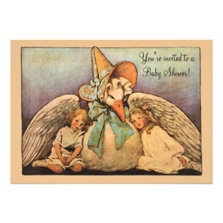 Vintage Mother Goose Children Twins Baby Shower Personalized Invitation