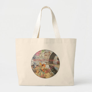 Vintage Mother Goose Fairy Circle Collage Jumbo Tote Bag