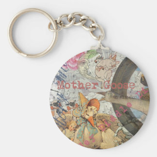 Vintage Mother Goose Fairy tale Collage Basic Round Button Key Ring