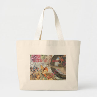 Vintage Mother Goose Fairy tale Collage Jumbo Tote Bag