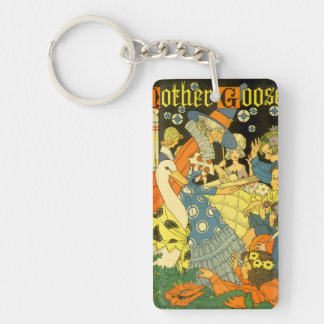 Vintage Mother Goose Reading Books to Children Double-Sided Rectangular Acrylic Key Ring