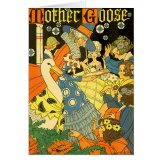 Vintage Mother Goose Reading Books to Children Greeting Card