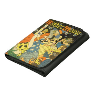 Vintage Mother Goose Reading Books to Children Leather Tri-fold Wallet