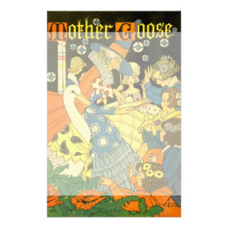 Vintage Mother Goose Reading Books to Children Personalized Stationery