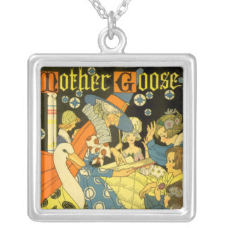 Vintage Mother Goose Reading Books to Children Square Pendant Necklace