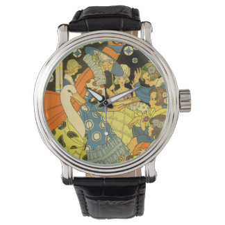 Vintage Mother Goose Reading Books to Children Wrist Watch