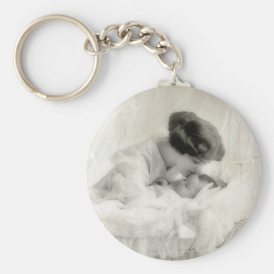 Vintage Mother Kissing Baby in Bassinet Basic Round Button Key Ring