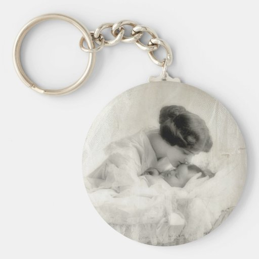 Vintage Mother Kissing Baby in Bassinet Key Chain