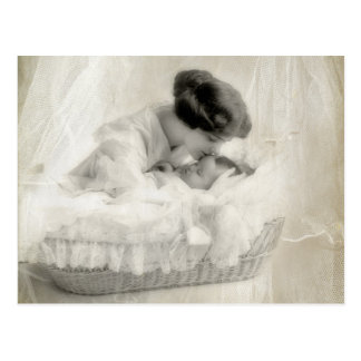 Vintage Mother Kissing Baby in Bassinet Postcards