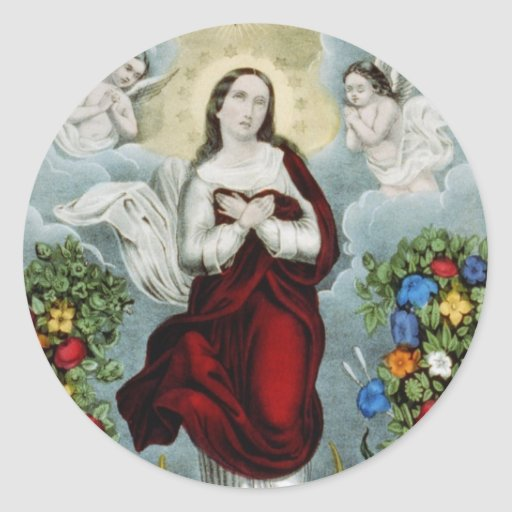 Vintage Mother Mary Lithograph Sticker