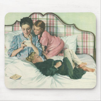 Vintage Mother Reading Cards in Bed with the Kids Mouse Pad
