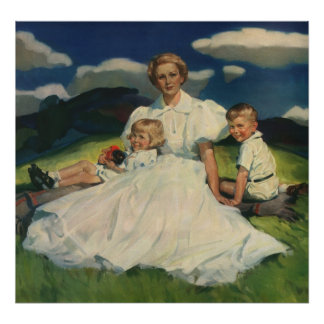 Vintage Mother with Children Family Portrait Poster