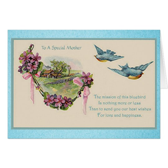 Vintage Mother's Day Bluebirds Card