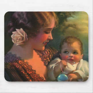 Vintage Mother's Day Family Portrait with Baby Mouse Pad