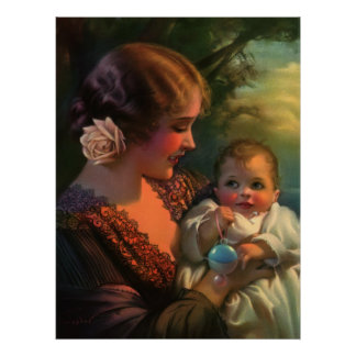 Vintage Mother's Day Family Portrait with Baby Poster