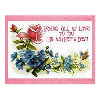 Vintage Mothers Day Flowers Postcard