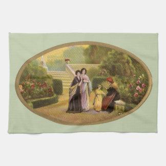 Vintage Mothers Day in the Garden Tea Towel